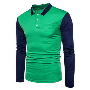 Long Sleeve Color Block Polo T-shirt - GREEN L