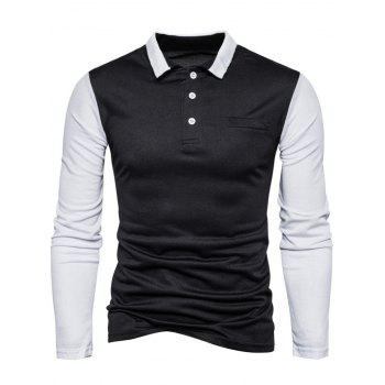 Long Sleeve Color Block Polo T-shirt - M M