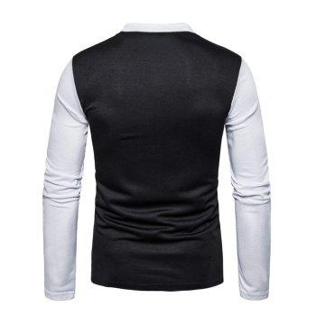 Long Sleeve Color Block Polo T-shirt - BLACK S