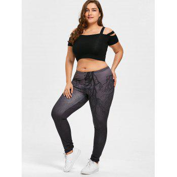 Halloween Branches Ombre Print Plus Size Leggings - DEEP GRAY 5XL