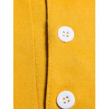 Long Sleeve Color Block Polo T-shirt - YELLOW M