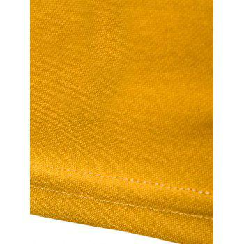 Long Sleeve Color Block Polo T-shirt - YELLOW L