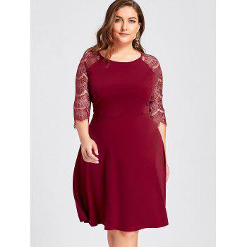Plus Size Lace Openwork Skater Party Dress - RED RED