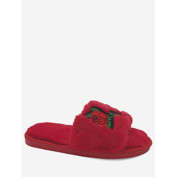 Embroidery Flower Faux Fur Open Toe Slippers - RED SIZE(36-37)