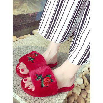 Embroidery Flower Faux Fur Open Toe Slippers - RED SIZE(38-39)
