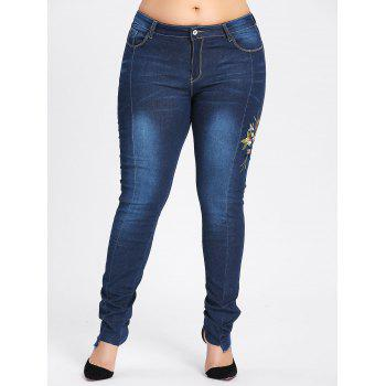 Plus Size Dark Wash Flower Embroidered Jeans - CERULEAN 2XL