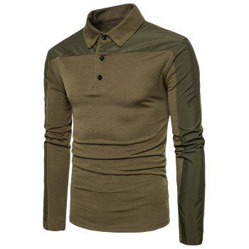 Polyester Panel Long Sleeve Polo T-shirt - ARMY GREEN S