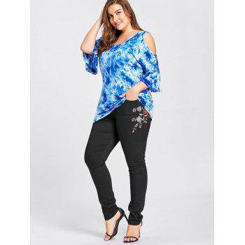 Plus Size Blossom Embroidered High Waist Jeans - BLACK BLACK