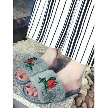 Embroidery Flower Faux Fur Open Toe Slippers - SIZE(36-37) SIZE(36-37)