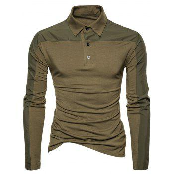 Polyester Panel Long Sleeve Polo T-shirt - ARMY GREEN L