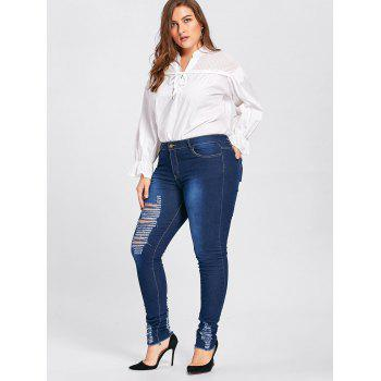 Plus Size Hole Destroyed Wash Jeans - CERULEAN CERULEAN