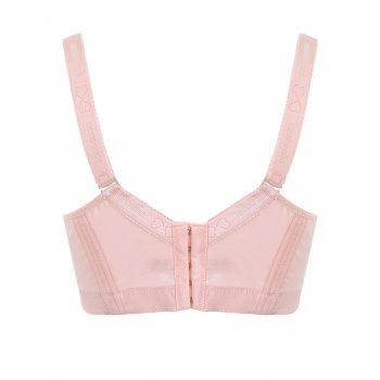 Padded Wirefree Floral Lace Panel Plus Size Bra - PINK PINK