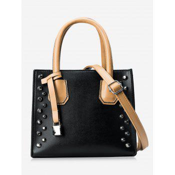 Stud Faux Leather Handbag - BLACK BLACK