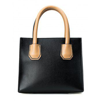Stud Faux Leather Handbag -  BLACK