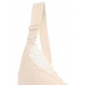 Padded Wirefree Floral Lace Panel Plus Size Bra - COMPLEXION 6XL