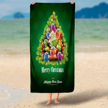 Christmas Gift Tree Water Absorption Bath Towel - GRASS GREEN 75CM*150CM
