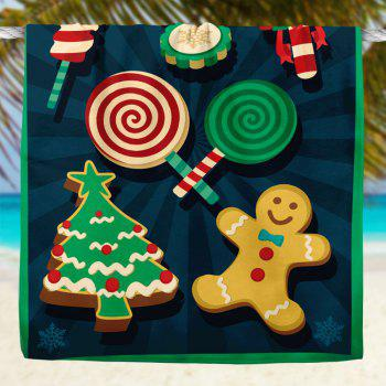 Christmas Candy Biscuit Pattern Bath Towel - BLUE BLUE