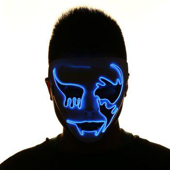 Halloween EL Wire Glowing Cosplay Creepy Mask - BLUE BLUE