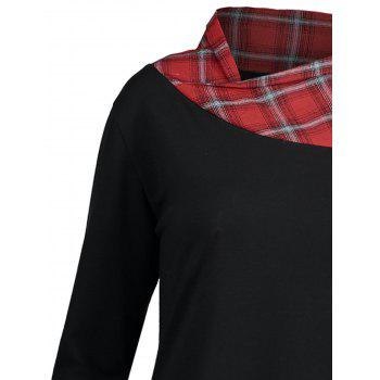 Lace Plaid Panel Plus Size Long Top - BLACK/RED 3XL