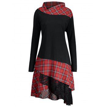 Lace Plaid Panel Plus Size Long Top - BLACK AND RED 5XL