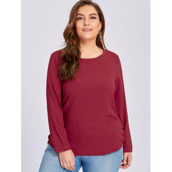 Plus Size High Low Button Embellished Blouse - WINE RED 4XL