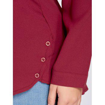Plus Size High Low Button Embellished Blouse - WINE RED 5XL