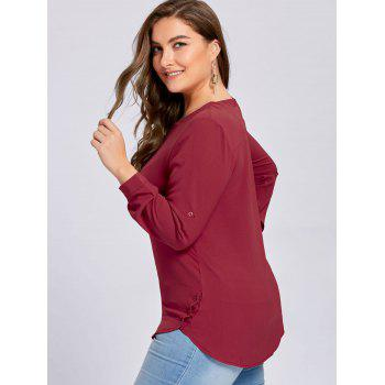Plus Size High Low Button Embellished Blouse - WINE RED WINE RED
