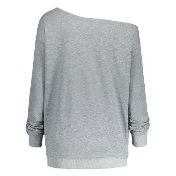 Lettre Impression Plus Size One Shoulder Sweatshirt - Gris 3XL