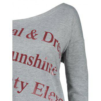 Letter Print Plus Size One Shoulder Sweatshirt - GRAY 5XL
