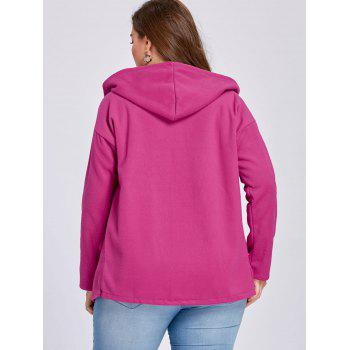 Plus Size Wool Blend Drop Shoulder Hooded Coat - ROSE RED 5XL