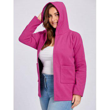 Plus Size Wool Blend Drop Shoulder Hooded Coat - ROSE RED 3XL