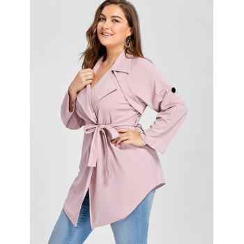 Plus Size Lapel Wrap Trench Coat - PINK PINK