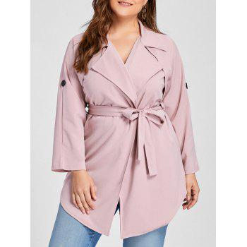 Plus Size Lapel Wrap Trench Coat - PINK 3XL