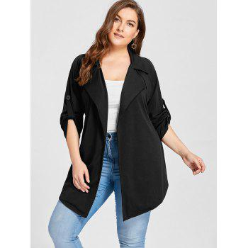 Plus Size Lapel Wrap Trench Coat - BLACK 3XL