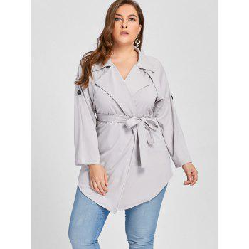 Plus Size Lapel Wrap Trench Coat - GRAY GRAY