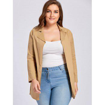 Plus Size Slit Drop Shoulder Lapel Coat - 2XL 2XL