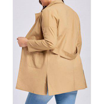 Plus Size Slit Drop Shoulder Lapel Coat - CAMEL 2XL