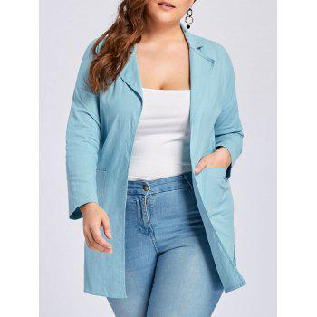 Plus Size Slit Drop Shoulder Lapel Coat - AZURE 3XL