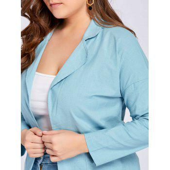 Plus Size Slit Drop Shoulder Lapel Coat - 3XL 3XL