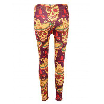 High Waisted Skull Print Halloween Leggings - COLORMIX L