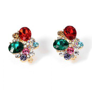 Faux Crystal Gemstone Oval Stud Earrings - COLORMIX COLORMIX