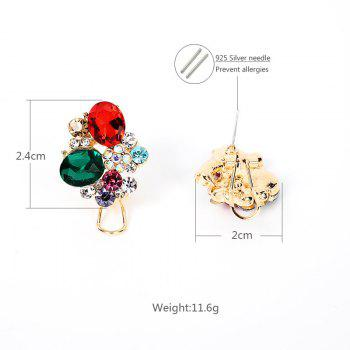 Faux Crystal Gemstone Oval Stud Earrings - COLORMIX