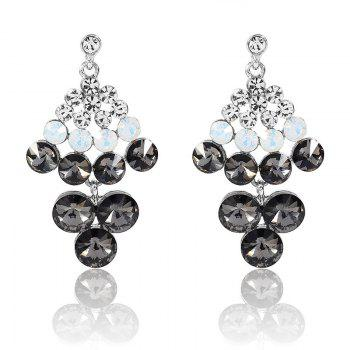 Rhinestoned Geometric Chandelier Drop Earrings - SILVER SILVER