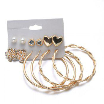 Faux Pearl Hoop Heart Flower Earring Set - GOLDEN GOLDEN