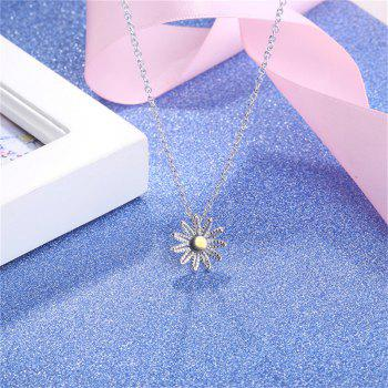 Sterling Silver Flower Pendant Collarbone Necklace -  SILVER