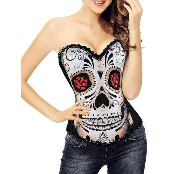 Halloween Skull Print Corset Top - BLACK 2XL