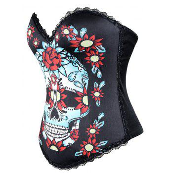 Skull Print Halloween Corset Top - BLACK M