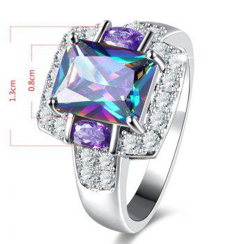 Sparkly Faux Gem Crystal Finger Ring - SILVER 7
