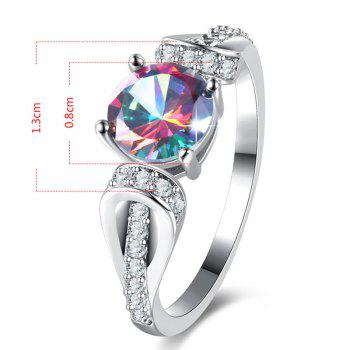 Sparkly Faux Gem Crystal Round Ring - SILVER 7