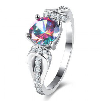 Sparkly Faux Gem Crystal Round Ring - SILVER 8